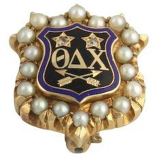 Genuine Theta Delta Chi Pearl & Diamond Vintage Badge - 14k Yellow Gold Pin A+