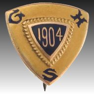 Vintage GHS High School 1904 Pin - 14k Yellow Gold Antique Collectible Shield