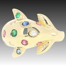 Multi-Gemstone Dolphin Ring - 18k Gold Ruby Sapphire Emerald Diamond .57ctw