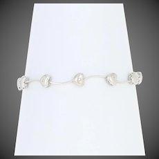 "Diamond Heart Link Bracelet 6 3/4"" - 10k White Gold Single Cut .10ctw"