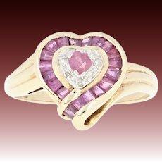 Ruby & Diamond Halo Ring - 10k Yellow Gold Heart-shaped Brilliant .65ctw