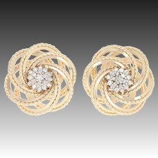 Diamond Cluster Circle Earrings - 14k Gold Pierced Round Brilliant .46ctw