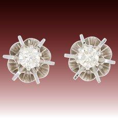 Diamond Stud Earrings - 14k White Gold Pierced Round Brilliant .44ctw