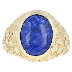 Lapis Lazuli Signet Ring - 14k Yellow Gold Nugget Texture Men's