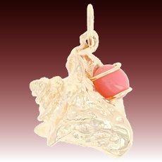 Conch Pearl Seashell Pendant - 14k Yellow Gold Charm Textured Beach Ocean