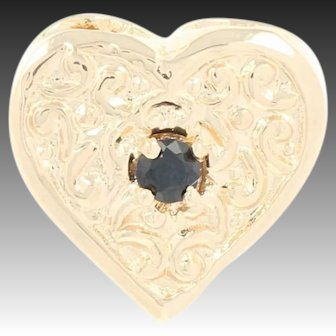 Synthetic Sapphire Heart Slide Charm - 14k Yellow Gold Scrolling Round Brilliant