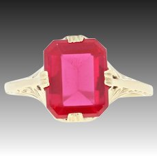 Vintage Synthetic Ruby Solitaire Ring - 10k Yellow Gold Detail Buff Top 2.60ct