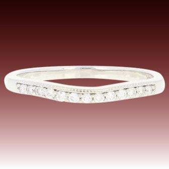 Contoured Diamond Wedding Band - 14k Gold Milgrain Ring Round Brilliant .21ctw