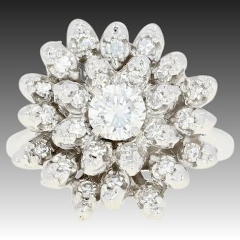 Floral Diamond Cocktail Ring -14k White Gold Botanical Halo Cluster Round .92ctw
