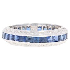 Sapphire & Diamond Eternity Wedding Band - 18k White Gold Women's Ring 4.20ctw