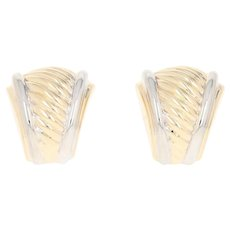 Tapered Ribbed Earrings - 14k Yellow Gold Omega Closures Pierced