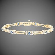 "Sapphire & Diamond Link Bracelet 7"" - 14k Yellow Gold Round Brilliant 1.85ctw"
