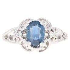 Sapphire & Diamond Ring - 14k White Gold Size 9 Oval 1.50ctw
