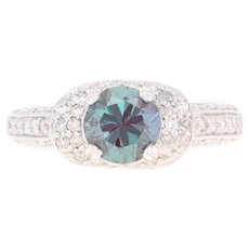 Synthetic Alexandrite & Diamond Ring - 14k White Gold Round Brilliant 2.04ctw