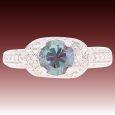 Synthetic Alexandrite & Diamond Ring - 14k White Gold Round Brilliant 2.04ctw