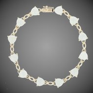 "Aquamarine Link Bracelet 7 1/4"" - 14k Yellow Gold Trillion Cabochons"