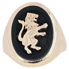 Onyx Lion Rampant Signet Ring - 14k Yellow Gold Heraldry Men's Size 10