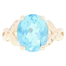 Blue Topaz & Diamond Ring - 14k Yellow Gold Oval Brilliant 6.09ctw