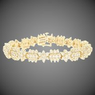 "Diamond Link Bracelet 7"" - 14k Yellow Gold Round Brilliant 6.00ctw"