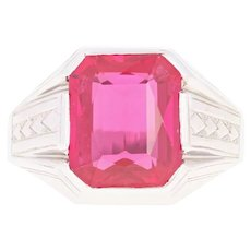 Art Deco Synthetic Ruby Ring - 14k White Gold Vintage Men's Size 10 1/2