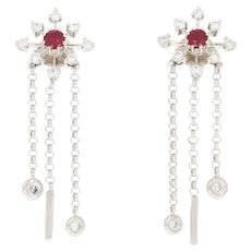 Ruby & Diamond Dangle Earrings - 18k White Gold Pierced Round Brilliant .88ctw