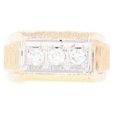 Men's Three-Stone Diamond Ring - 14k Yellow Gold Round Brilliant .50ctw