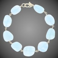 "Aquamarine Link Bracelet 7"" - 14k Yellow Gold Lobster Claw Clasp"