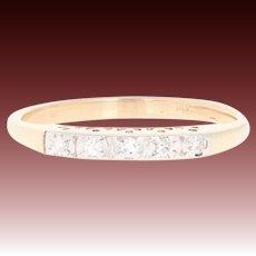 Vintage Diamond Wedding Band - 14k Yellow Gold Women's Ring Single Cut