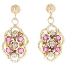 Ruby & Diamond Dangle Earrings - 14k Yellow Gold Pierced Round Brilliant .67ctw