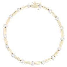 "Diamond Link Bracelet 7 3/4"" - 14k Yellow Gold Round Brilliant .50ctw"
