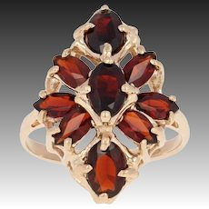 Mozambique Garnet Tiered Cluster Ring - 10k Yellow Gold Oval & Marquise 2.50ctw
