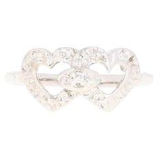 Interlocking Hearts Ring - 14k White Gold Diamond Accent Textured