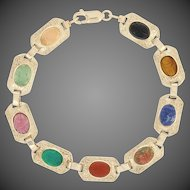 "Vintage Multi-Gemstone Scarab Beetle Bracelet 7 1/2"" - 10k Gold Onyx Tiger Eye"