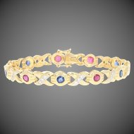 "Ruby, Sapphire, & Diamond Link Bracelet 6 1/2"" -18k Gold Round Brilliant 2.13ctw"