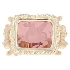 Tagliamonte Venetian Glass Pegasus Cameo Ring - 14k Yellow Gold Purple Size 6