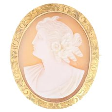Vintage Carved Shell Cameo Brooch - 14k Yellow Gold Detailed Silhouette Pin