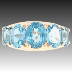London Blue Topaz Ring - 10k Yellow Gold Five-Stone Oval 4.94ctw