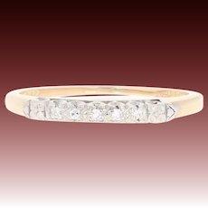 Art Deco Diamond-Accented Wedding Band - 14k Yellow Gold Women's Vintage Ring