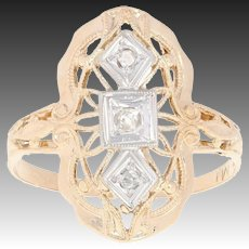 Vintage Diamond-Accented Ring - 14k Yellow Gold Milgrain Size 5 3/4