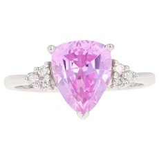 2.59ctw Synthetic Pink Sapphire & Diamond Ring - 10k White Gold