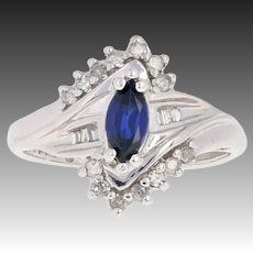 Synthetic Sapphire & Diamond Bypass Ring - 10k White Gold Marquise .77ctw
