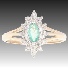 Emerald & Diamond Double Halo Ring - 10k Yellow Gold Marquise .52ctw