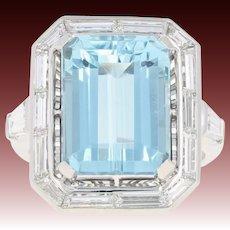 Art Deco Aquamarine & Diamond Halo Ring - 900 Platinum Vintage 7.74ctw