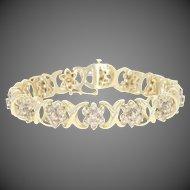 "Floral Diamond Link Bracelet 6 3/4"" - 10k Gold Clusters Round Brilliant 7.00ctw"