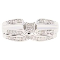 Joined Composite Diamond Engagement Ring & Wedding Band 14k Gold Princess .50ctw