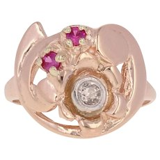 .20ctw Synthetic Ruby & Diamond Retro Ring - 14k Rose Gold Vintage Flower
