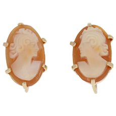 Vintage Carved Shell Cameo Earrings - 9k Gold Silhouette Non-Pierced Screw-Back
