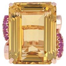 Retro Citrine & Ruby Cocktail Ring - 14k Rose Gold Vintage 56.60ctw