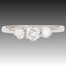 Retro Diamond Engagement Ring - Platinum Vintage Round Brilliant .61ctw