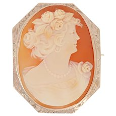 Vintage Carved Shell Cameo Brooch / Pendant - 10k Gold Silhouette Convertible